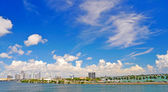 Miami photographed from a cruise ship leaving the port — Stock Photo