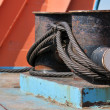 Winch with metal cable on a cargo ship. — Stock Photo