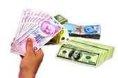 Billets de banque turcs, américains, européens, isolé — Photo