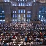 Muslim Friday prayer, blue mosque Turkey — Stock Photo