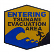 Warning sign - tsunami evacuation area (Hawaii) — Foto Stock