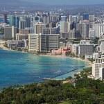 Beach of Waikiki (Honolulu, Hawaii) — Stock Photo