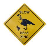 Warning sign for the hawaiian goose Nene — Stock Photo