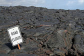Road Closed - lava field (Big Island, Hawaii) — Stockfoto