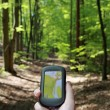 Outdoor navigation in the forest - Stock Photo