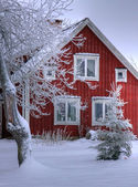 Snowy cottage in Smaland (Sweden) — Stok fotoğraf
