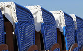 Close-up of Canopied beach chairs — Stock Photo