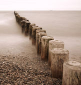 Line of Groynes at the coast of Baltic Sea — 图库照片