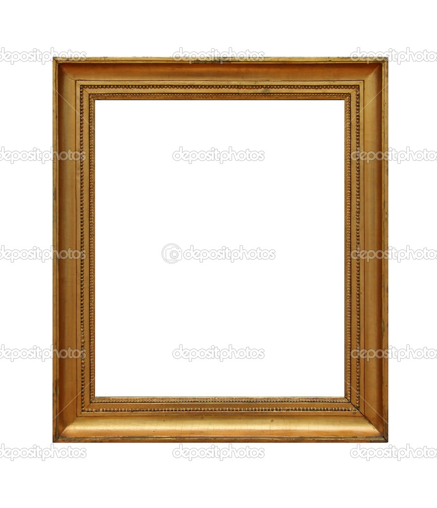Weathered golden picture frame, isolated on white background — Stock Photo #10825454