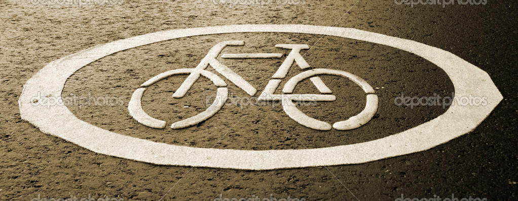 Close up view of a Cycle track - Sign on street surface — Stock Photo #10828389