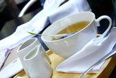 Tea time - green organic tea, white tea service — Stock Photo