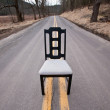 Black Chair In Road — Stock Photo