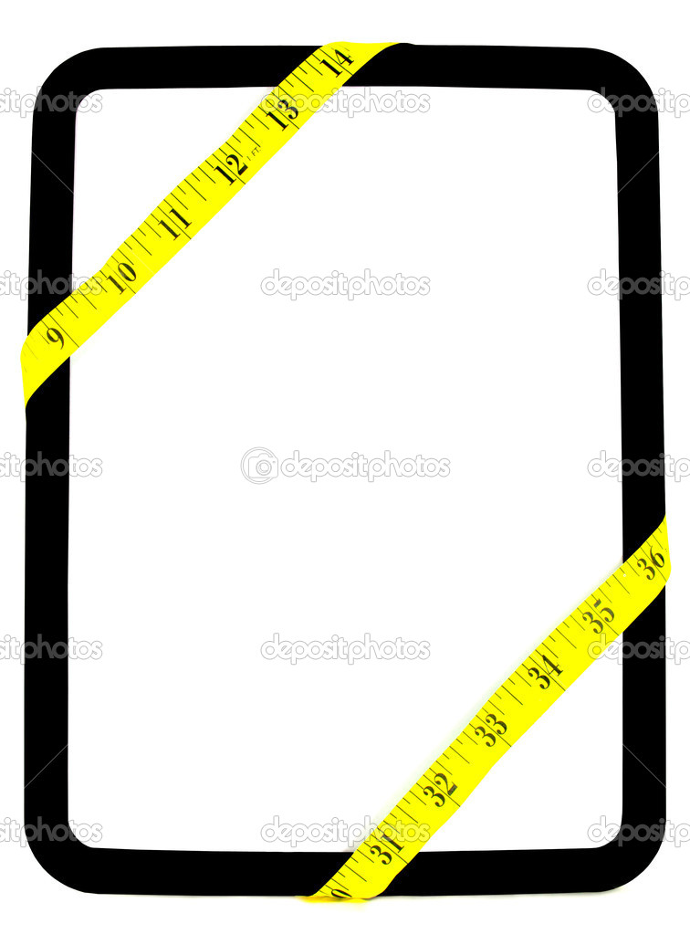 Yellow weight measuring tape wrapped around white and black dry erase background board — Stockfoto #10807481