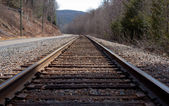 Railroad Tracks By The Road — Stock Photo