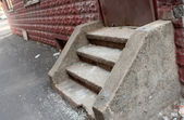 Concrete Steps BY Red Building — Stock Photo