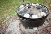 Dutch Oven Dinner Cooking — Stock Photo