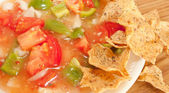 Salsa And Tortilla Chips On A White Plate — Stock Photo