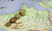 Euro coins on one of Europe countries — Stock Photo