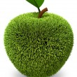 Apple covered with green grass — Stock Photo