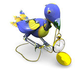 Stolen Time: Mechanical Bird with Golden Clock — Stock Photo