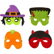 Halloween Felt Face Masks Isolated on White - Stock Photo