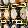 Stock Photo: Rack of Old Oak Wine Barrels