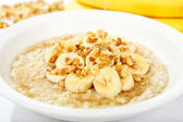 Banana Nut Oatmeal with Honey — Stock Photo