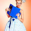 Reading pinup — Stock Photo