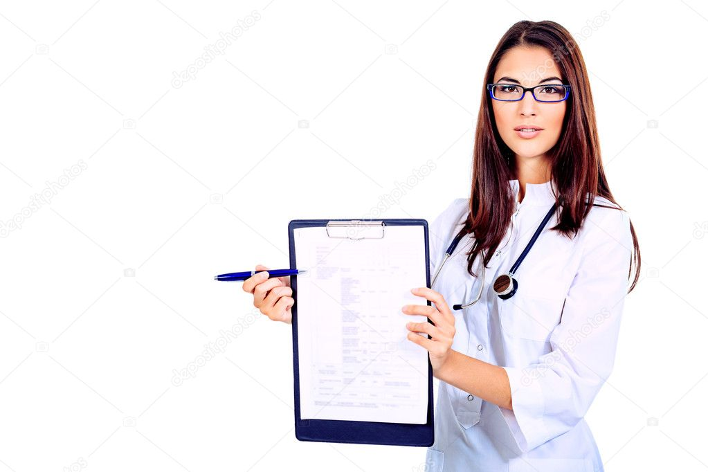 Portrait of a beautiful woman doctor. Isolated over white background. — Stock Photo #10768634