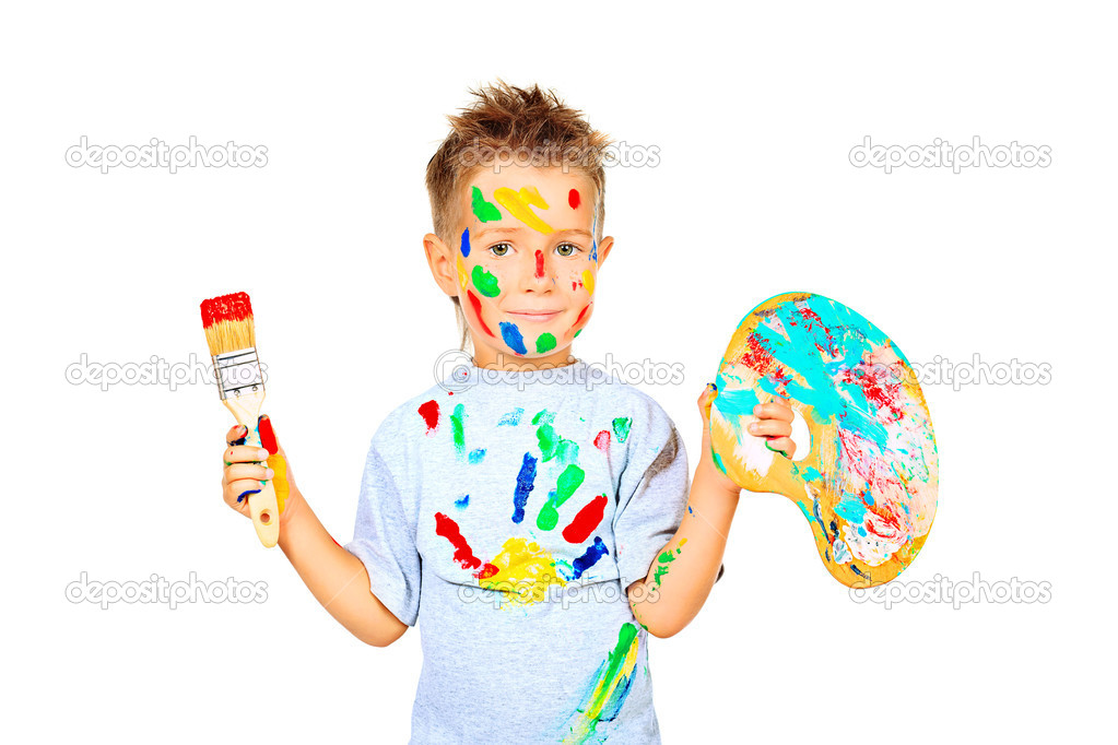 Portrait of a little boy enjoying his painting. Education. Isolated over white background. — Stock Photo #10768828