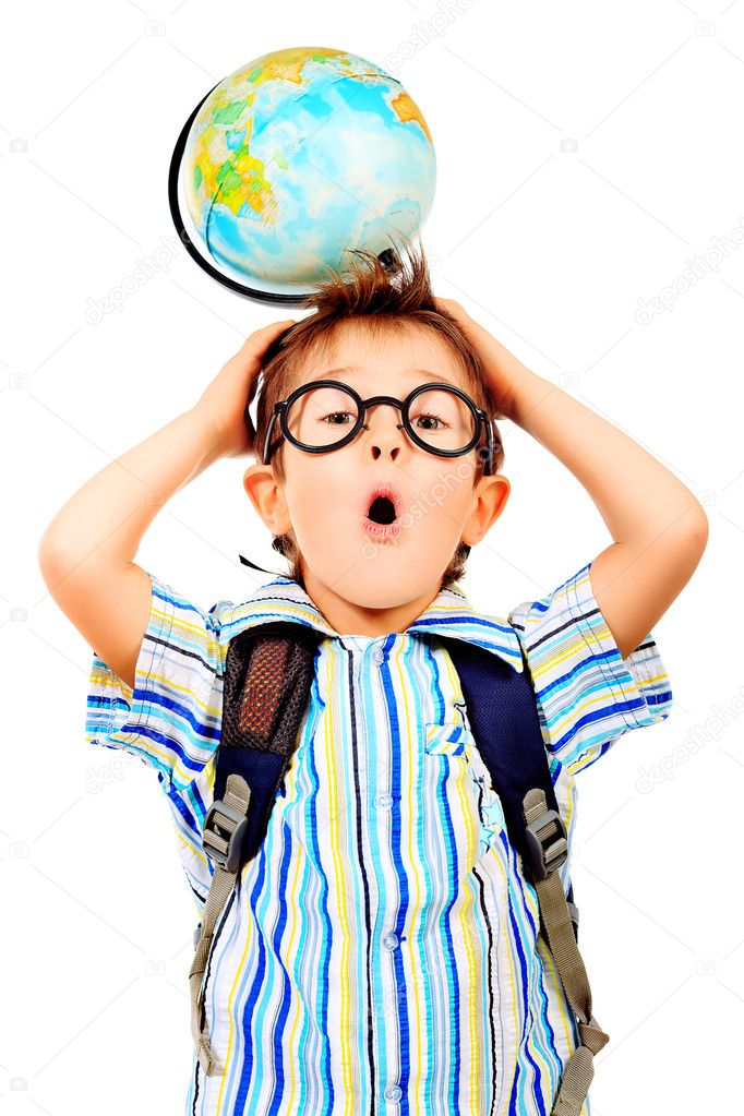 Portrait of a little boy in spectacles with globe. Isolated over white background. — Stock Photo #10845928