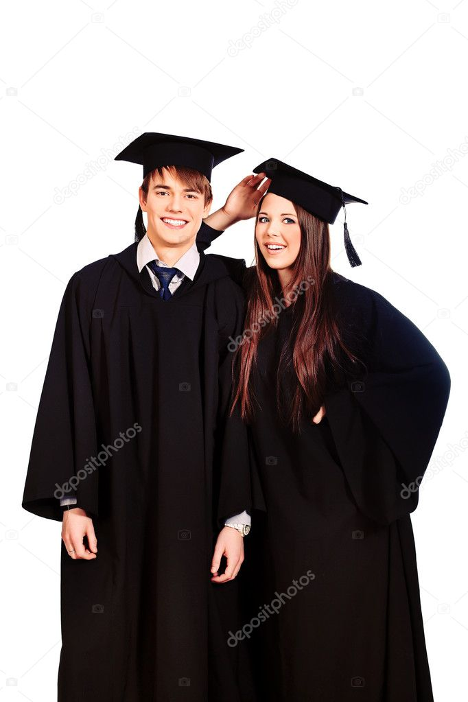 Portrait of two happy graduating students. Isolated over white background. — Stock Photo #10952326