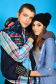 Portrait of a happy young couple in warm clothes. — Stock Photo