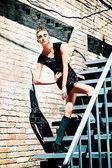 Auf treppe — Stockfoto