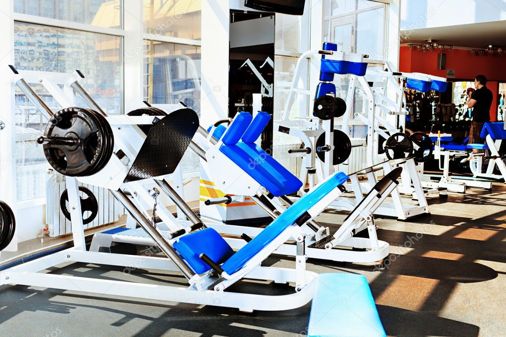 Gym centre interior. Equipment, gym apparatus. — Stock Photo #12196516