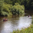 Rowers on river — Stock Photo