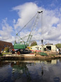 Canal boatyard — Stock Photo