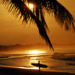 Susnet in tropical location with surfer - Stock Photo