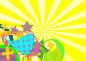 Funky retro former på ljusa sunburst bakgrund — Stockfoto