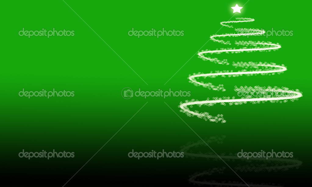 Green and black background with white Christmas tree and reflection with glowing stars  Stock Photo #10771561