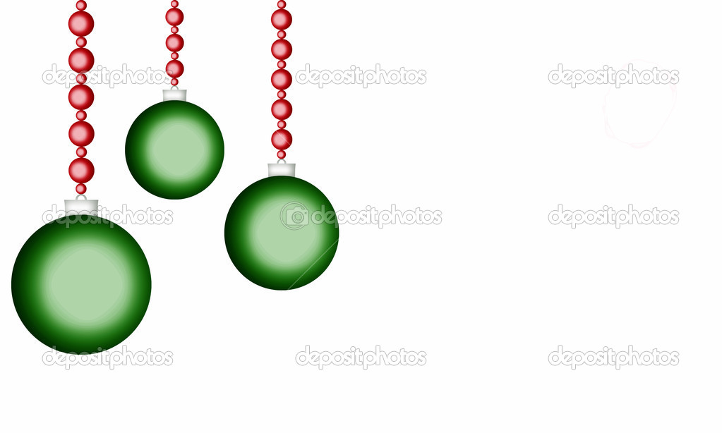 White background with green holiday ornaments  Stok fotoraf #10771564