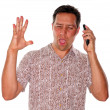Man having angry phone call — Stock Photo