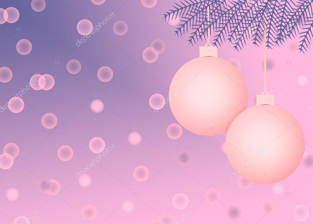 粉色和紫色圣诞节场景与节日装饰品和抽象圆圈背景 — 照片作者 ftl