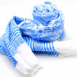 Foto Stock: Blue and white spring scarf