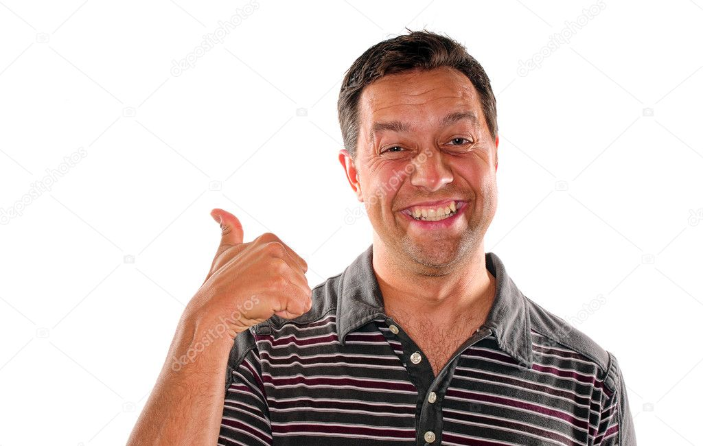 Happy man smiling with thumbs up in agreement — Stock Photo #10942099