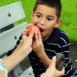 Child eating healthy — Stock Photo