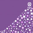 Purple Retro Christmas Tree with vintage flowers — Stock Photo