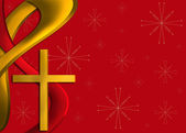 Red and gold religious Christmas background — Stock Photo