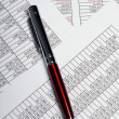 Business spreadsheets with pen — Stock Photo