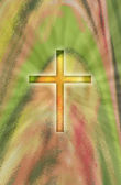 A glowing cross on abstract background — Stock Photo